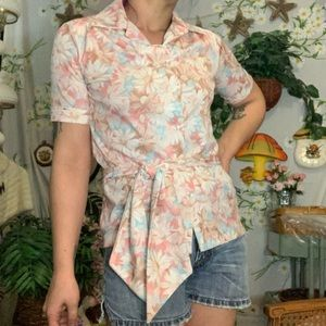 Vintage 1970s pastel blue pink floral belted shirt